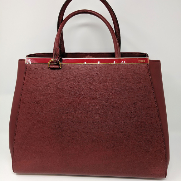 0d36e0efbe4a Fendi 2jours Handbag Medium Dark Red Leather Tote NWT